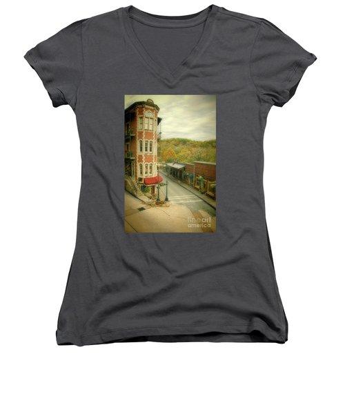 Eureka Springs Women's V-Neck T-Shirt (Junior Cut) by Jill Battaglia