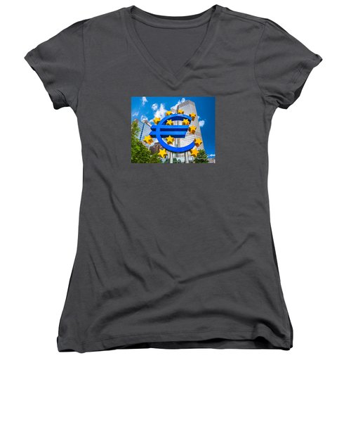 Euro Sign At European Central Bank In Frankfurt, Germany Women's V-Neck T-Shirt