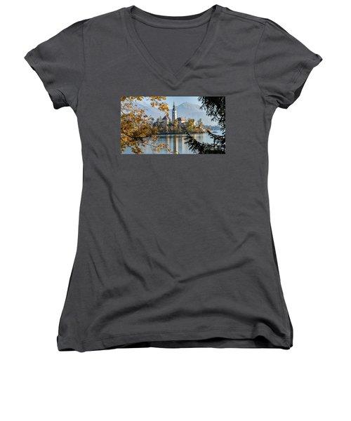 European Beauty Women's V-Neck T-Shirt (Junior Cut) by Rod Jellison