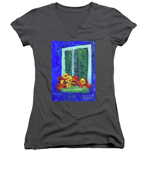 European Window Box Women's V-Neck