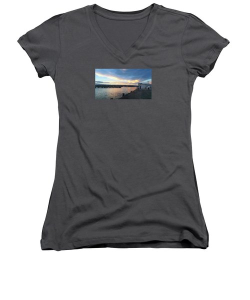 Women's V-Neck T-Shirt featuring the photograph Evening At The Bay by Nareeta Martin