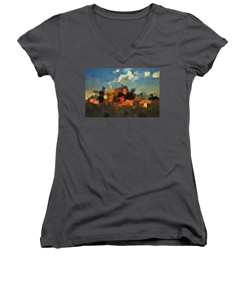 Evening At The Farm Women's V-Neck
