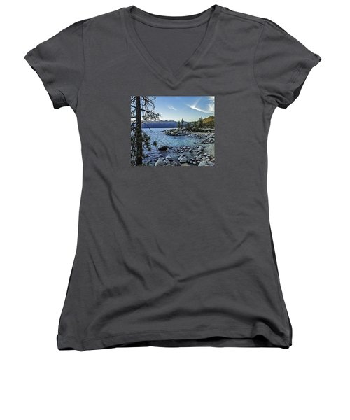 Evening At The Harbor-edit Women's V-Neck T-Shirt (Junior Cut) by Nancy Marie Ricketts