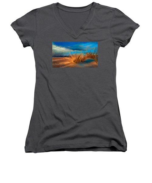 Evening Beach Dunes Women's V-Neck T-Shirt (Junior Cut) by Anthony Fishburne