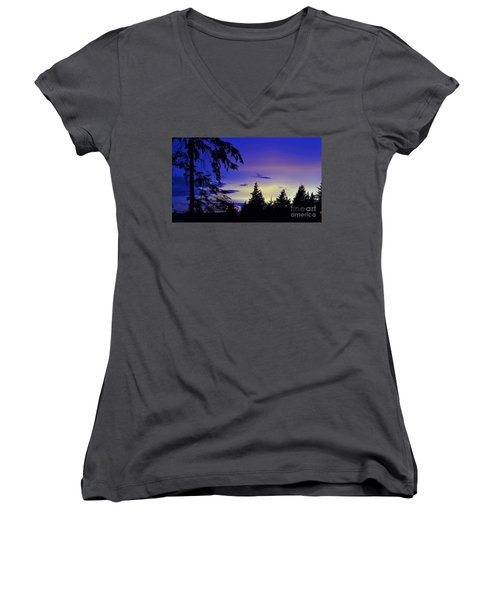 Women's V-Neck T-Shirt (Junior Cut) featuring the photograph Evening Blue by Victor K