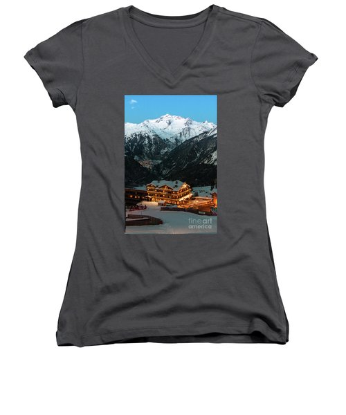 Evening Comes In Courchevel Women's V-Neck