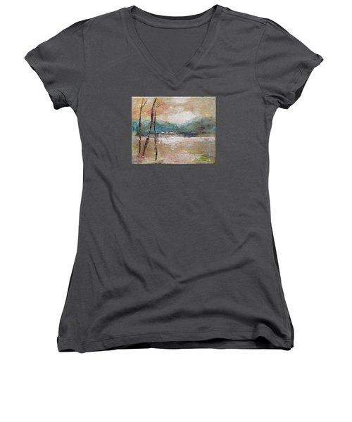 Evening In Fall Women's V-Neck T-Shirt (Junior Cut) by Becky Kim