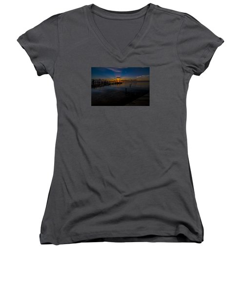 evening in Key Largo Women's V-Neck T-Shirt (Junior Cut) by Kevin Cable