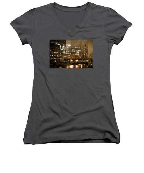 Evening In The Windy City Women's V-Neck T-Shirt