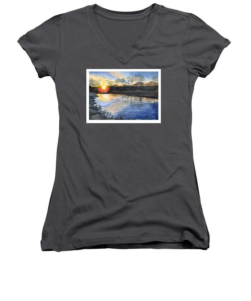 Women's V-Neck T-Shirt (Junior Cut) featuring the painting Evening by Katherine Miller