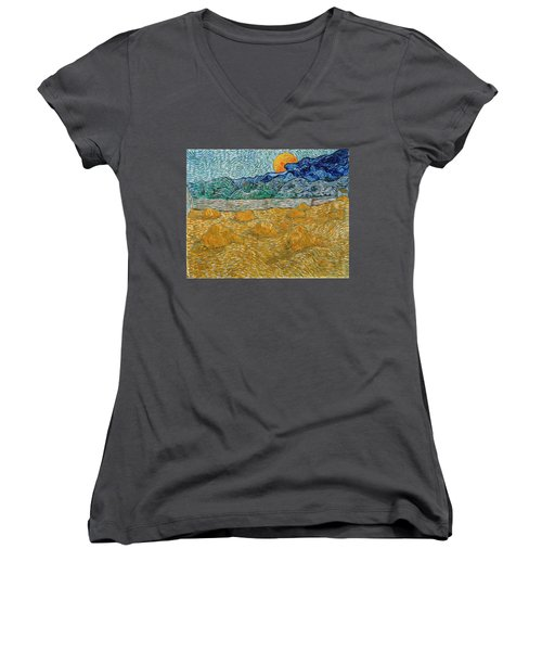 Women's V-Neck featuring the painting Evening Landscape With Rising Moon by Van Gogh