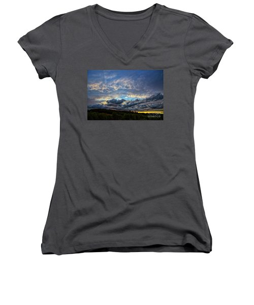 Evening Light Women's V-Neck T-Shirt (Junior Cut) by Billie-Jo Miller