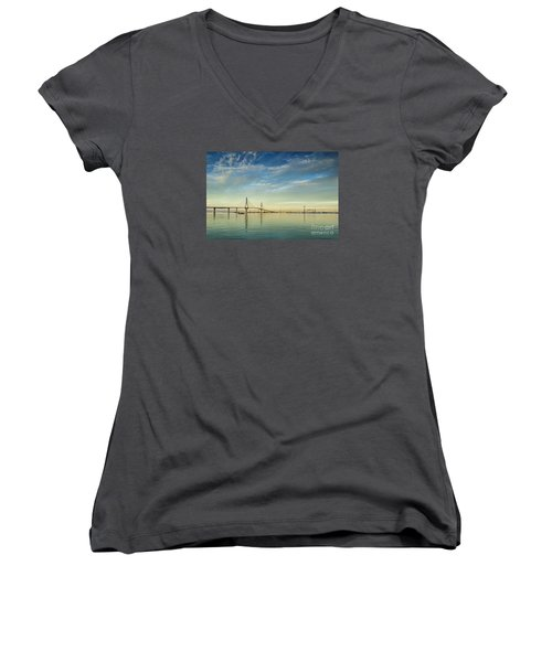 Evening Lights On The Bay Cadiz Spain Women's V-Neck T-Shirt (Junior Cut) by Pablo Avanzini