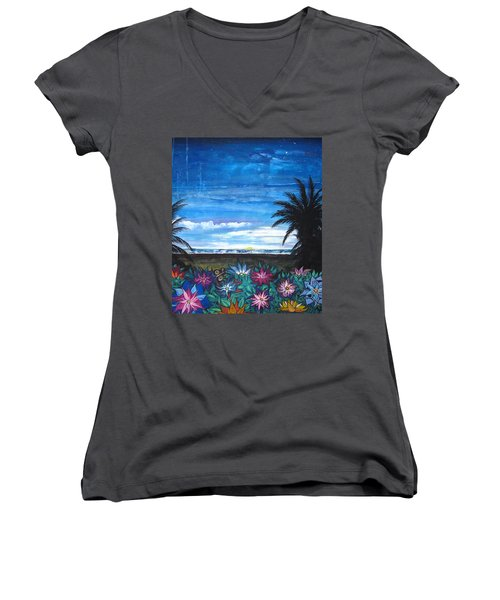 Women's V-Neck T-Shirt (Junior Cut) featuring the painting Tropical Evening by Mary Ellen Frazee