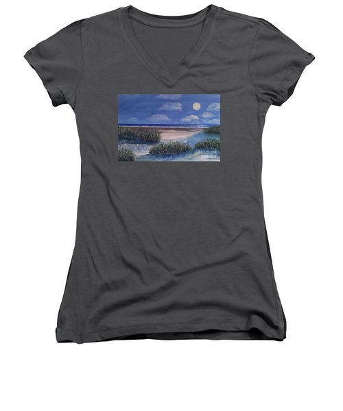 Evening Moon Women's V-Neck (Athletic Fit)