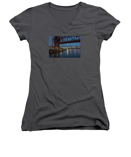 Women's V-Neck T-Shirt (Junior Cut) featuring the photograph Evening On The Cuyahoga River by Brent Durken