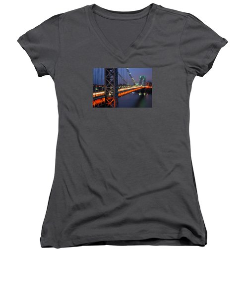 Evening On The George Washington Bridge Women's V-Neck T-Shirt (Junior Cut) by James Kirkikis