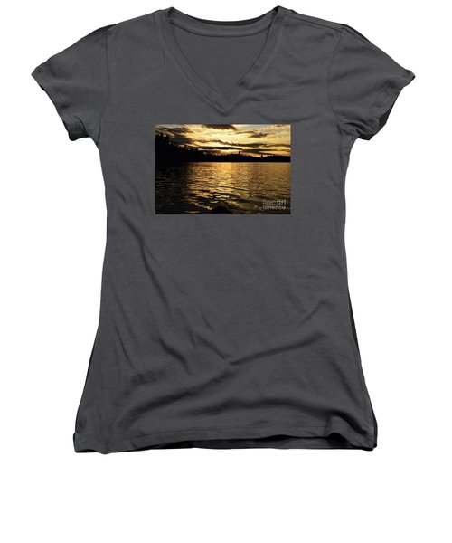 Women's V-Neck T-Shirt (Junior Cut) featuring the photograph Evening Paddle On Amoeber Lake by Larry Ricker
