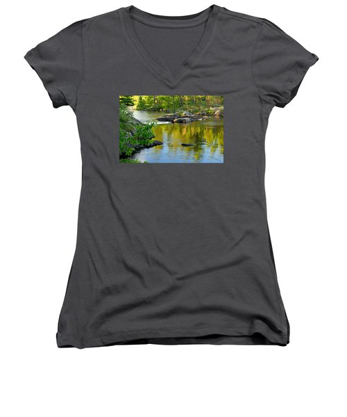 Evening Reflections At Lower Basswood Falls Women's V-Neck (Athletic Fit)