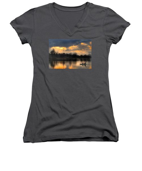 Evening Relaxation Women's V-Neck T-Shirt (Junior Cut) by Sumoflam Photography