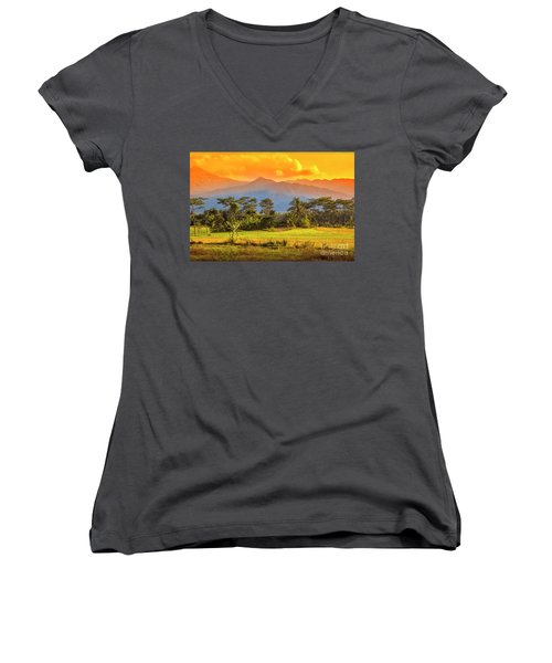 Women's V-Neck T-Shirt (Junior Cut) featuring the photograph Evening Scene by Charuhas Images