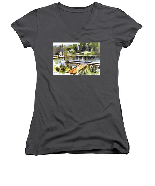 Evening Shadows At Shepherd Mountain Lake Women's V-Neck