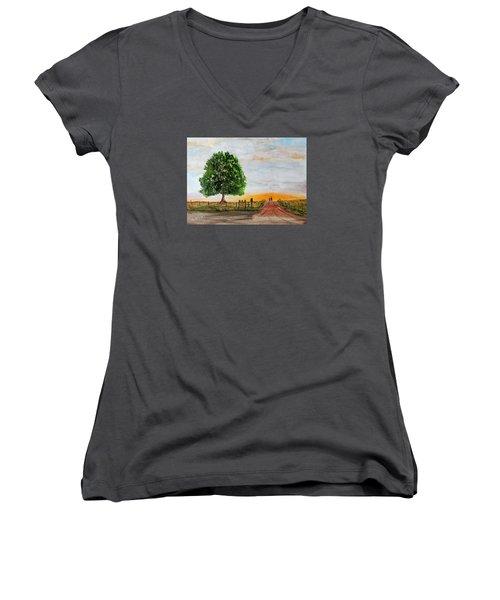 Evening Stroll Women's V-Neck T-Shirt (Junior Cut) by Jack G Brauer
