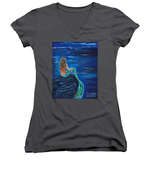 Evening Tide Mermaid Women's V-Neck T-Shirt (Junior Cut) by Leslie Allen