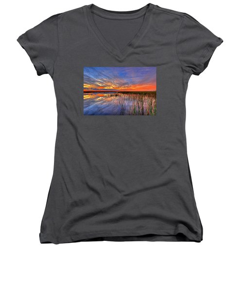 Everglades Sunset Women's V-Neck