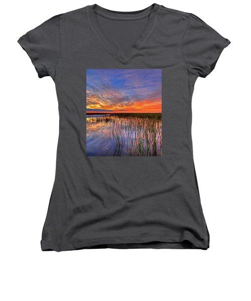 Everglades Sunset Women's V-Neck (Athletic Fit)