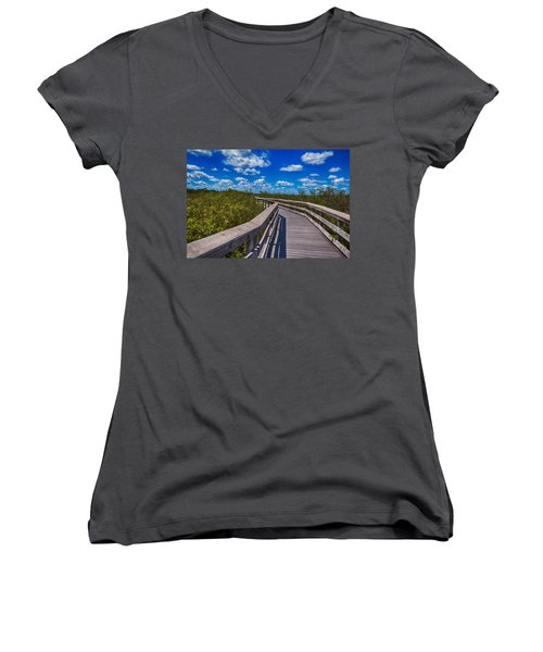 Everglades Trail Women's V-Neck T-Shirt (Junior Cut) by Swank Photography