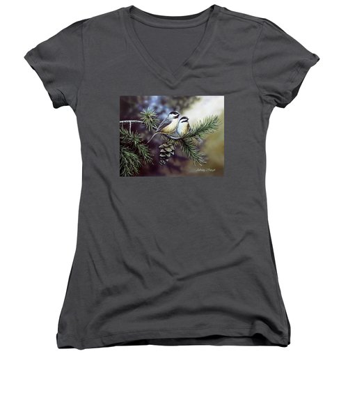 Evergreen Chickadees Women's V-Neck
