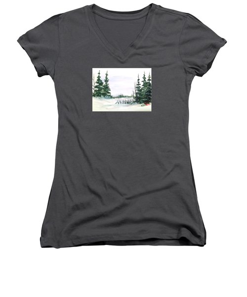 Evergreens In Snow Women's V-Neck T-Shirt (Junior Cut) by Dorothy Maier