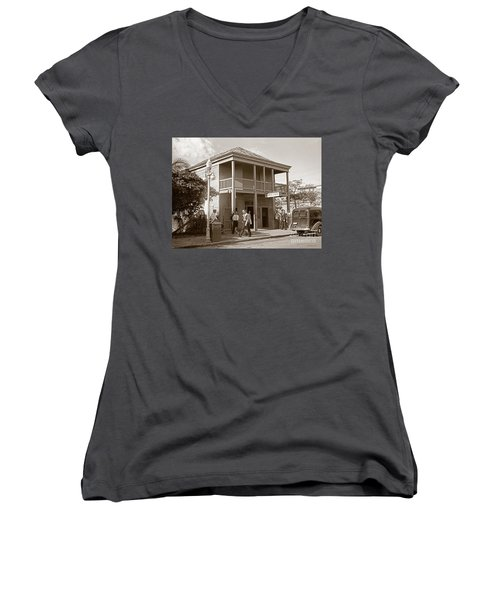 Women's V-Neck T-Shirt (Junior Cut) featuring the photograph Everyone Says Hi - From Pepes Cafe Key West Florida by John Stephens