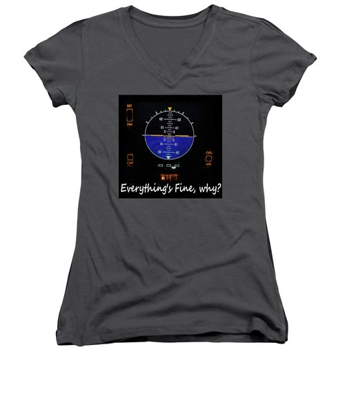 Everything Is Fine Women's V-Neck T-Shirt (Junior Cut) by JC Findley
