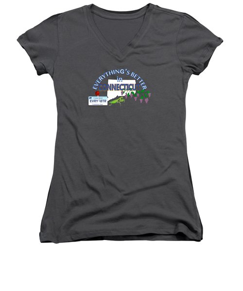 Everything's Better In Connecticut Women's V-Neck T-Shirt (Junior Cut) by Pharris Art