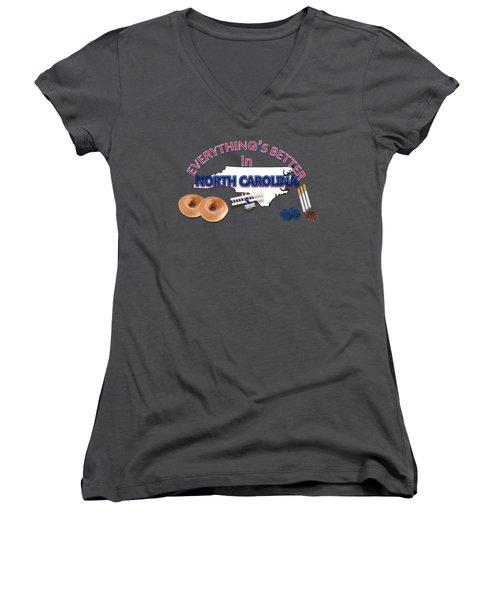 Everything's Better In North Carolina Women's V-Neck T-Shirt (Junior Cut) by Pharris Art