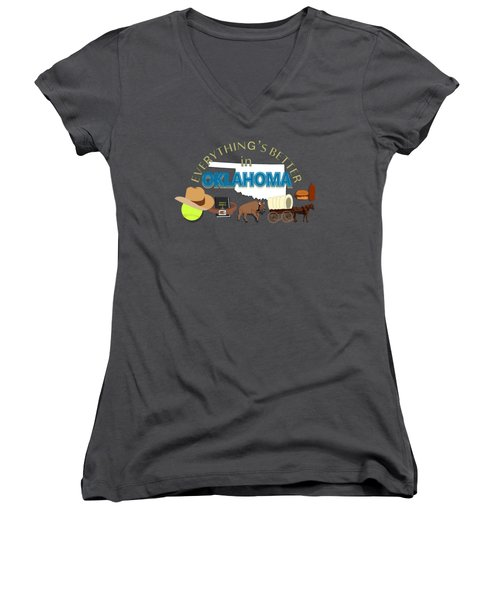 Everything's Better In Oklahoma Women's V-Neck T-Shirt (Junior Cut) by Pharris Art