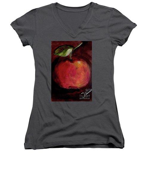 Women's V-Neck T-Shirt (Junior Cut) featuring the painting Eve's Apple.. by Jolanta Anna Karolska