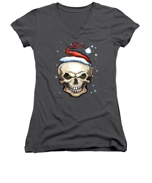 Evil Christmas Skull Women's V-Neck T-Shirt (Junior Cut) by Kevin Middleton