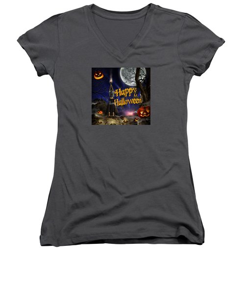 Evocation In Halloween Night Greeting Card Women's V-Neck
