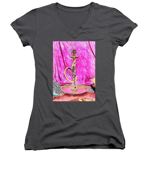 Exotic Oriental Hookah Pipe 1 Women's V-Neck (Athletic Fit)