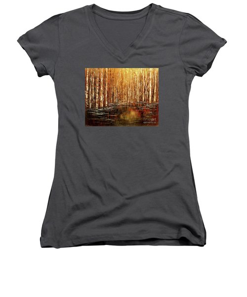 Women's V-Neck T-Shirt (Junior Cut) featuring the painting Exploration Of Ohio by Tatiana Iliina