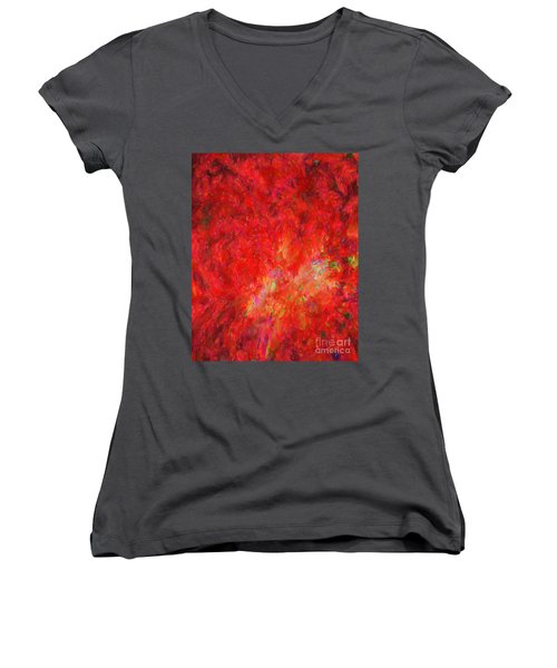 Explosion In Watercolor Women's V-Neck (Athletic Fit)