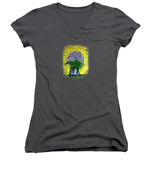 Explosive Flowers Women's V-Neck T-Shirt (Junior Cut)