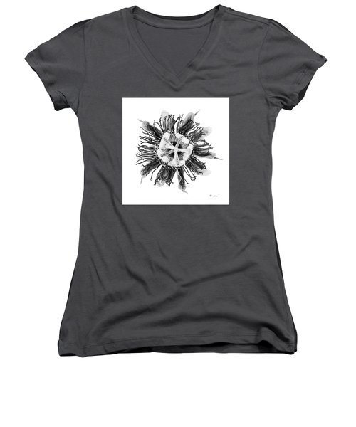 Expressive Passion Flower In Grayscale 50674g Women's V-Neck (Athletic Fit)