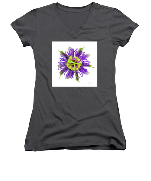 Expressive Yellow Green And Violet Passion Flower 50674a Women's V-Neck (Athletic Fit)