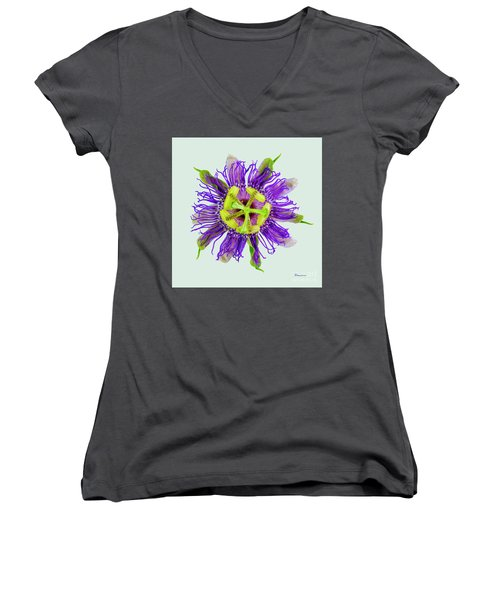 Expressive Yellow Green And Violet Passion Flower 50674l Women's V-Neck (Athletic Fit)