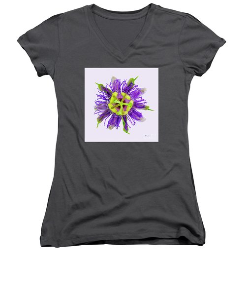 Expressive Yellow Green And Violet Passion Flower 50674v Women's V-Neck (Athletic Fit)