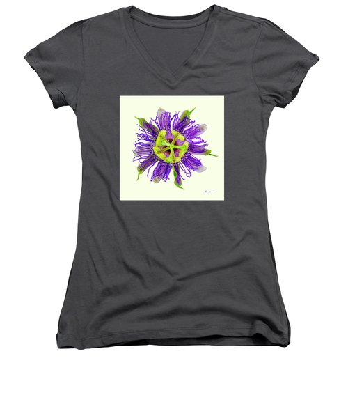 Expressive Yellow Green And Violet Passion Flower 50674y Women's V-Neck (Athletic Fit)